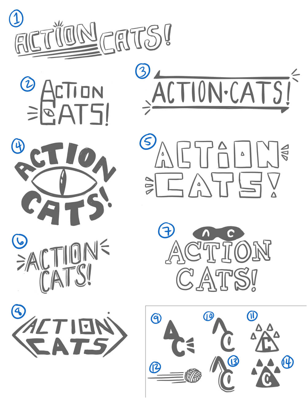 Action Cats logo sketches - v1