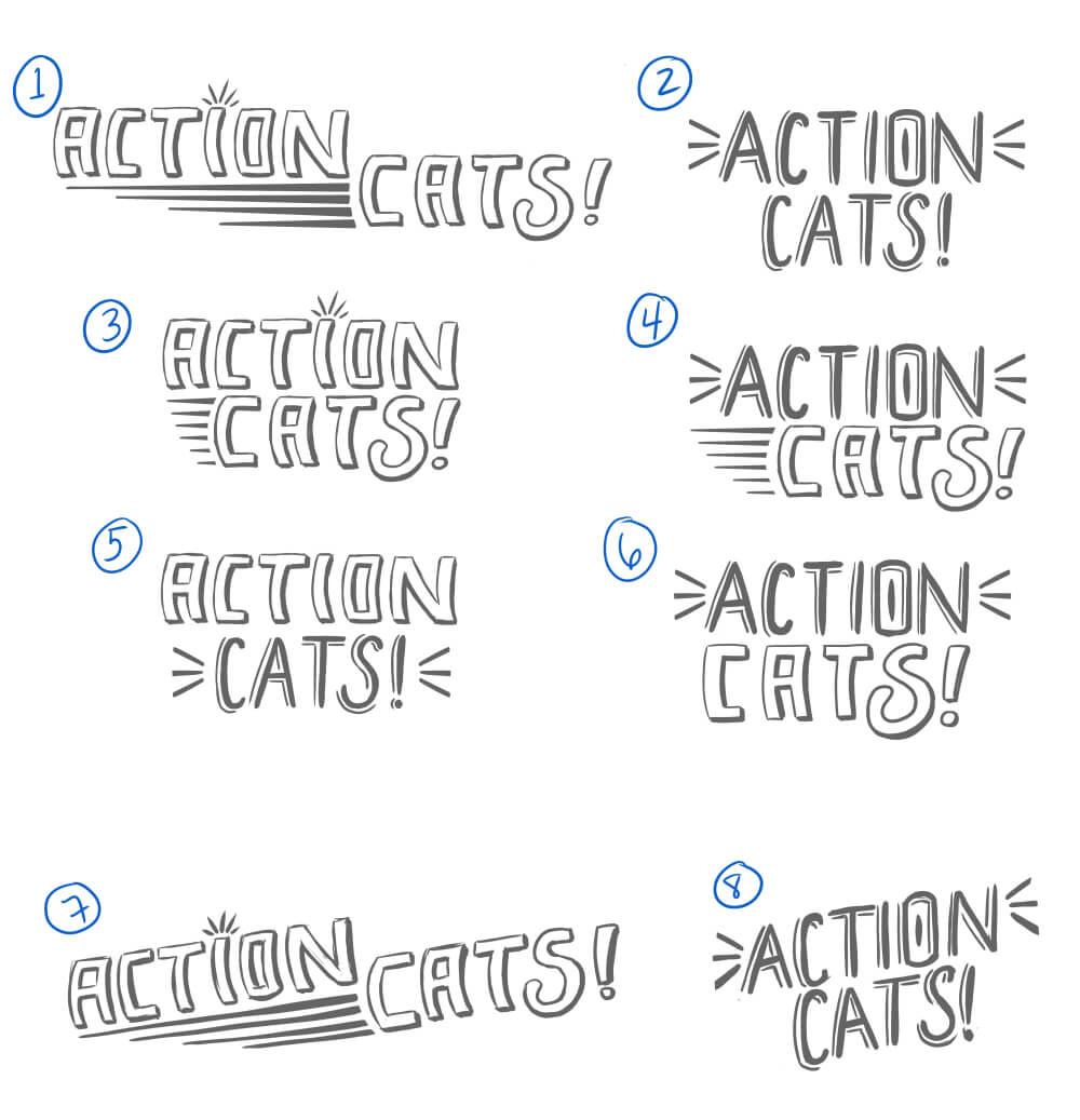 Action Cats logo sketches - v2